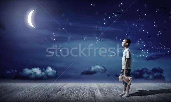 Boy with bear toy Stock photo © adam121