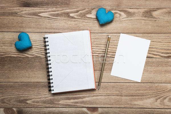 Liebe Nachricht Einladung Herzen Merkzettel Blatt Stock foto © adam121