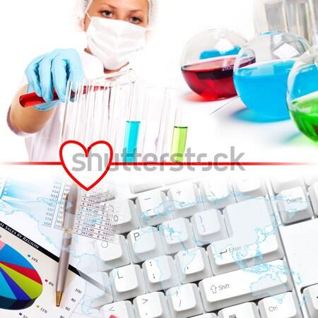 Collage wetenschapper laboratorium wetenschappers werken medische Stockfoto © adam121