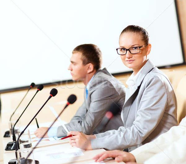 группа бизнесменов презентация деловые люди сидят женщину Сток-фото © adam121