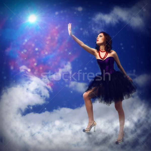 Genç kadın star etrafında soyut kadın Stok fotoğraf © adam121
