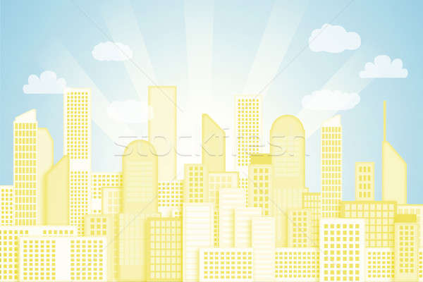 city and sky, painted background Stock photo © adam121