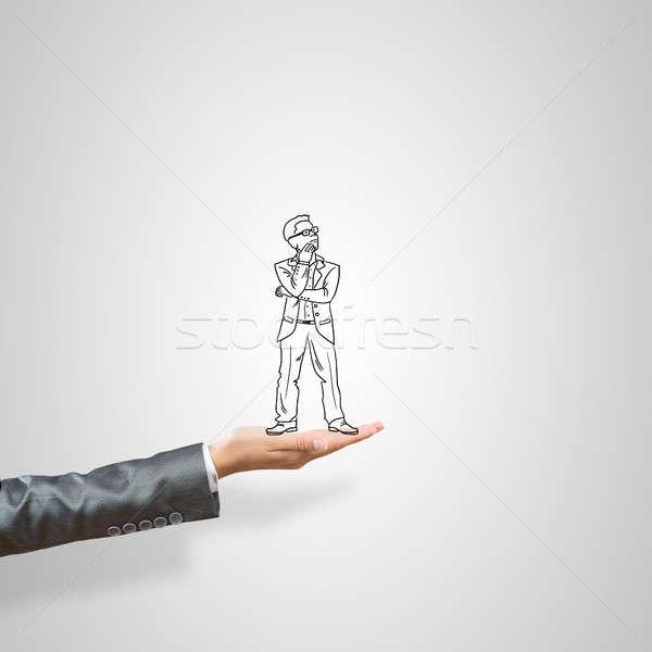 üzletember pálma rajzolt női szürke üzlet Stock fotó © adam121