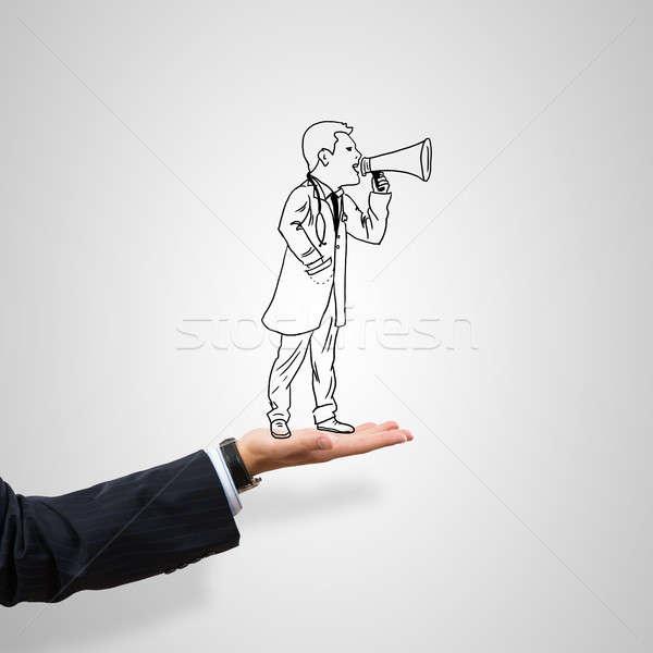 üzletember pálma rajzolt férfi szürke üzlet Stock fotó © adam121