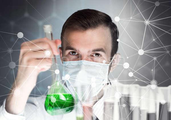Portré koncentrált férfi tudós dolgozik laboratórium Stock fotó © adam121