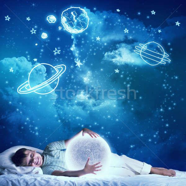 Chłopca spać cute bed patrząc Zdjęcia stock © adam121