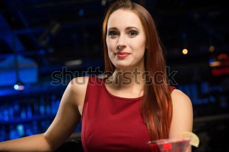 Stock fotó: Portré · fiatal · gyönyörű · nő · bár · gyönyörű · fiatal · nő