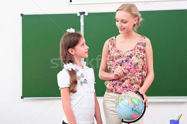 Enseignants leçon géographie stand école monde Photo stock © adam121