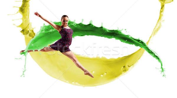 ダンサー 抽象的な コラージュ ジャンプ 色 塗料 ストックフォト © adam121
