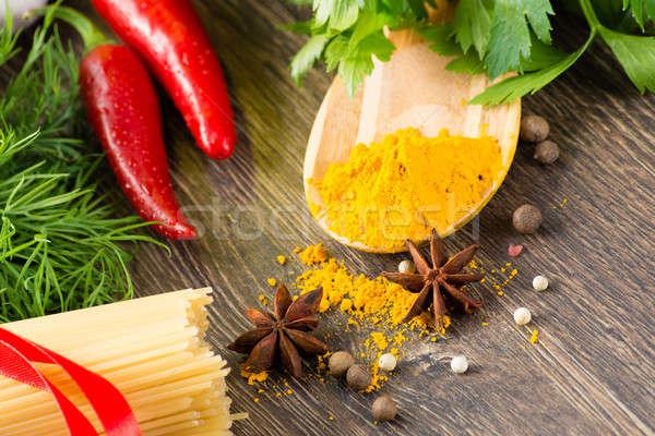 Italien spaghettis légumes pâtes épices still life Photo stock © adam121