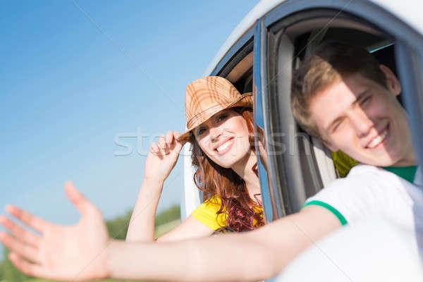 Foto d'archivio: Guardando · fuori · auto · finestra · mano