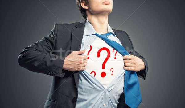Empresário camisas pontos de interrogação azul terno retrato Foto stock © adam121