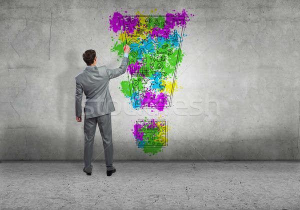 創造的思考 背面図 ビジネスマン 図面 ビジネス インターネット ストックフォト © adam121