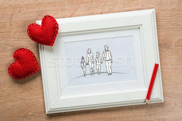 Foto d'archivio: Momenti · photo · frame · famiglia · felice · disegno · tavolo · in · legno · donna