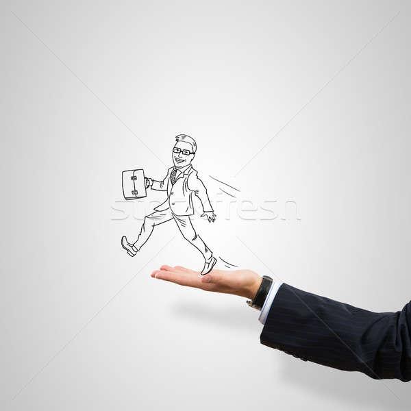 Empresario palma maleta masculina gris Foto stock © adam121