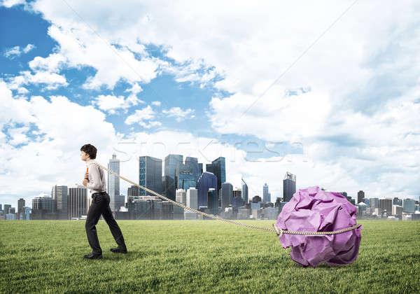 человека усилие большой мяча бумаги Сток-фото © adam121
