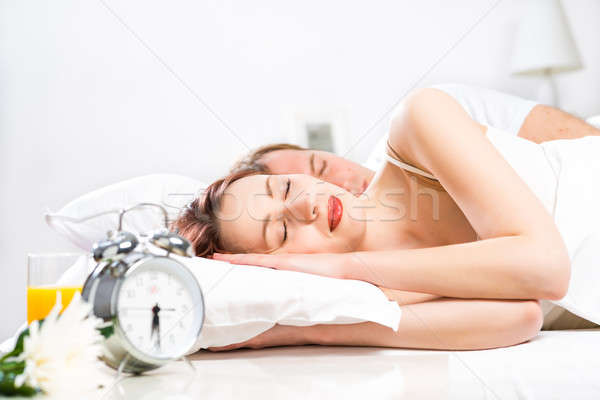 beautiful woman sleeping on the bed Stock photo © adam121
