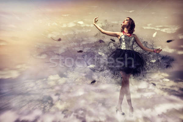 Mulher dança vestir fumar abstrato Foto stock © adam121