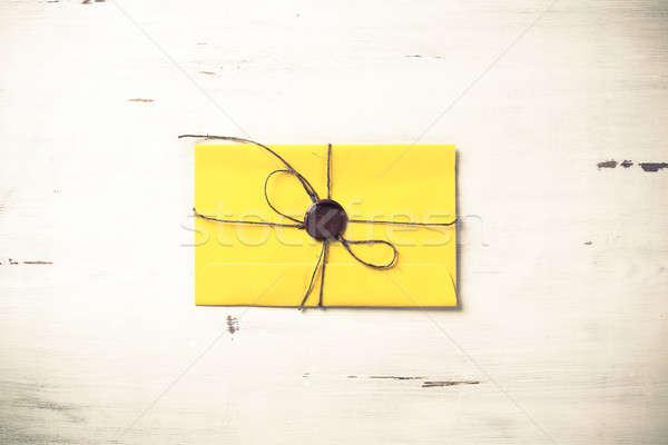 Lettera sigillo tavola giallo busta cera Foto d'archivio © adam121