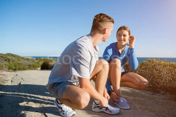 午前 実行 小さな アクティブ カップル ジョギング ストックフォト © adam121