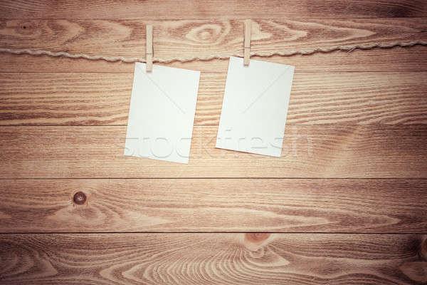Iscritto messaggio carta bianca testo impiccagione corda Foto d'archivio © adam121