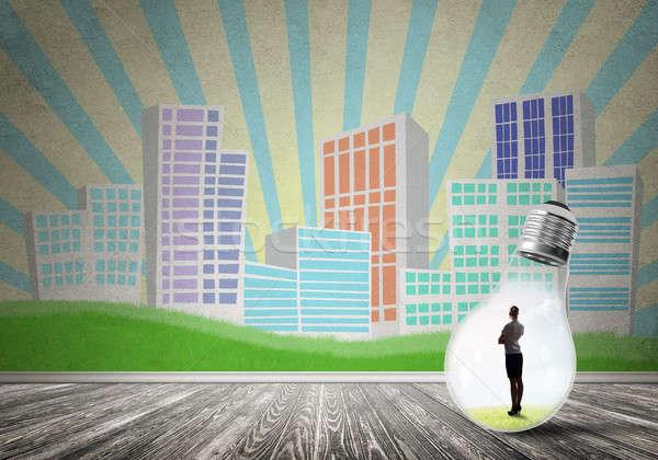 деловая женщина ловушке лампа внутри город Сток-фото © adam121
