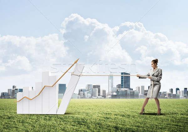 Femme d'affaires graphique corde pouvoir contrôle Photo stock © adam121