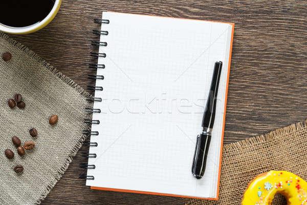 Stock fotó: Kávészünet · falatozó · kinyitott · jegyzettömb · csésze · kávé