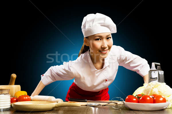 Portrait Asian woman cooks Stock photo © adam121