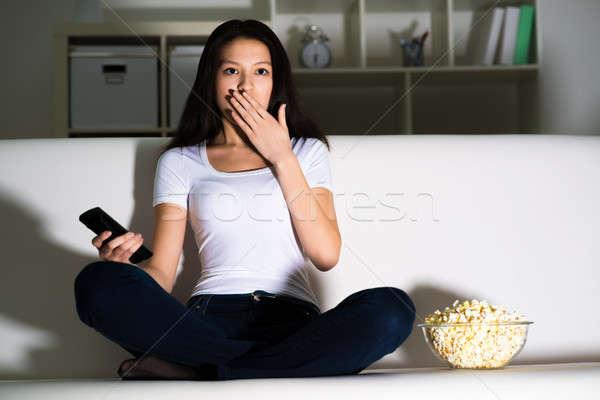 beautiful young girl watching TV Stock photo © adam121
