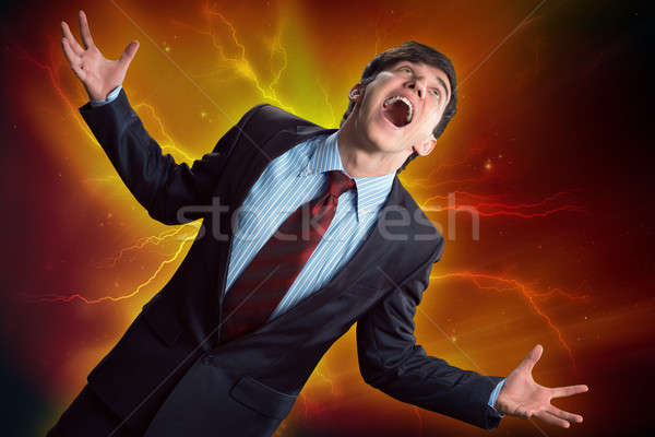 Erőszakos férfi dühös karok felfelé néz személy Stock fotó © adam121