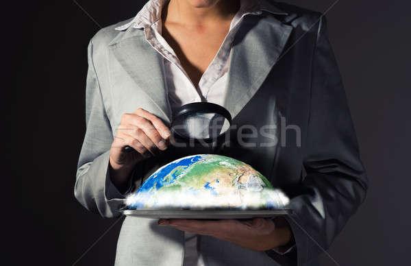 Сток-фото: деловой · женщины · глядя · планеты · увеличительное · стекло · экология · облака