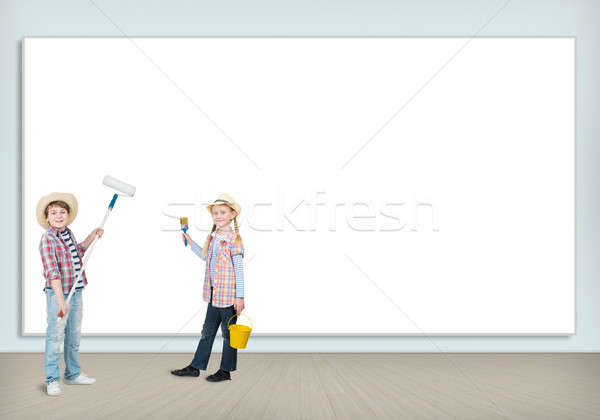 children with paint rollers Stock photo © adam121