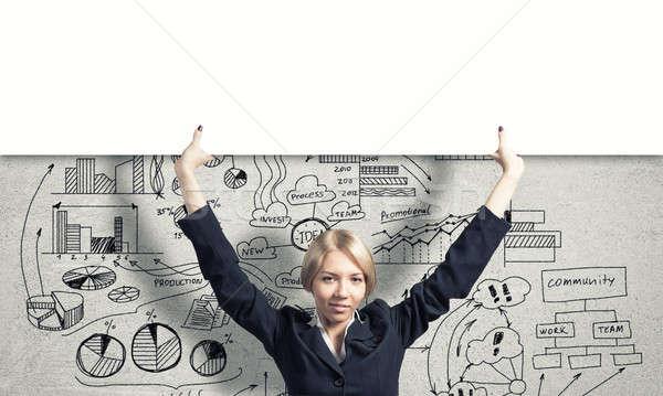 Stockfoto: Vrouw · banner · blond · zakenvrouw · witte