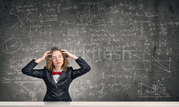Stressed teacher in classroom Stock photo © adam121