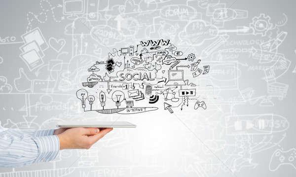 Plan elektronische business zakenman hand Stockfoto © adam121