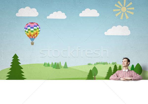 Uomo banner giovani divertente ragazzo Foto d'archivio © adam121