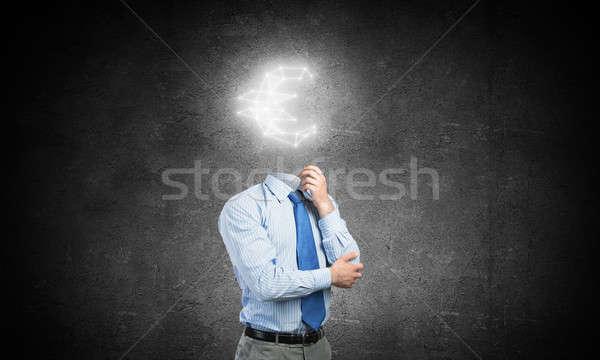 思考 お金 ビジネスマン ユーロ にログイン ストックフォト © adam121