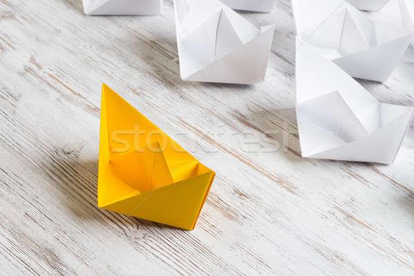 Iş beyaz renk kâğıt tekneler Stok fotoğraf © adam121