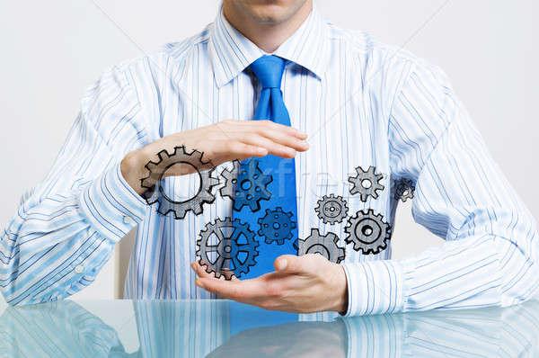 Csapatmunka együttműködés közelkép üzletember ül asztal Stock fotó © adam121