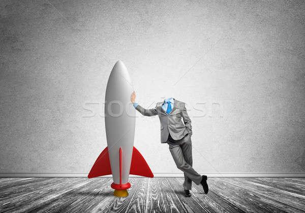 бизнесмен голову пустой комнате ракета бизнеса Сток-фото © adam121