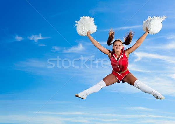 小さな チアリーダー 赤 衣装 ジャンプ 青空 ストックフォト © adam121