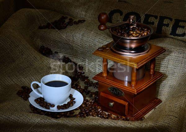 Kávé malom csésze bab zsákvászon csendélet Stock fotó © adam121