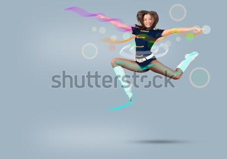 Pompomlány lány ugrik kék ég divat ugrás Stock fotó © adam121