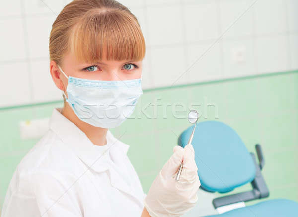 female dentists in protective mask Stock photo © adam121