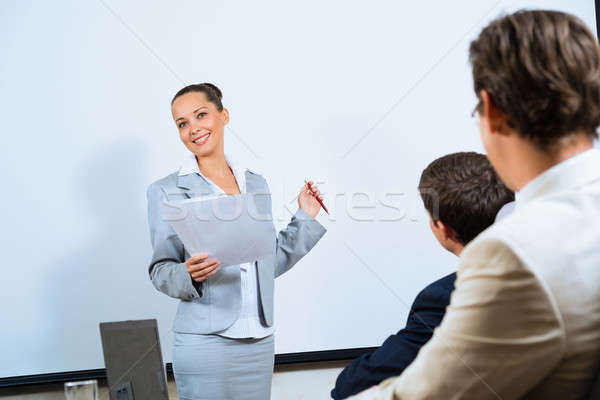 discusses business woman with colleagues Stock photo © adam121