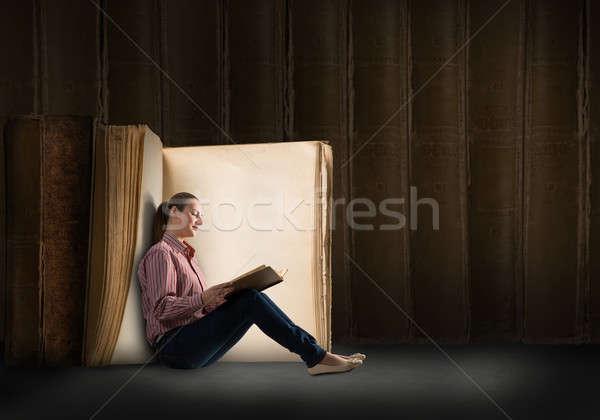 Lettura libro immagine seduta grande Foto d'archivio © adam121