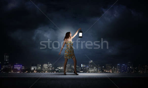 Girl lost in darkness Stock photo © adam121