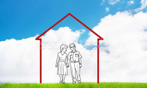 Gelukkig gezin huis cijfer onroerend symbool wolken Stockfoto © adam121