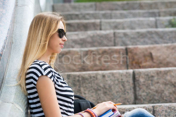 Student girl at staircase Stock photo © adam121